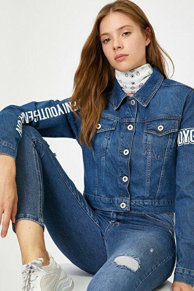 Kadın Yazılı Baskılı Jean Ceket
