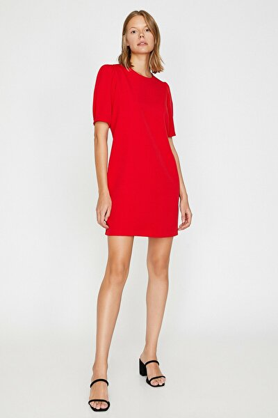 Kadın Kırmızı Bisiklet Yaka Elbise 0KAK88772PW