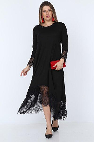 Kadın Siyah Dantel Detaylı Viskon Elbise NB00028