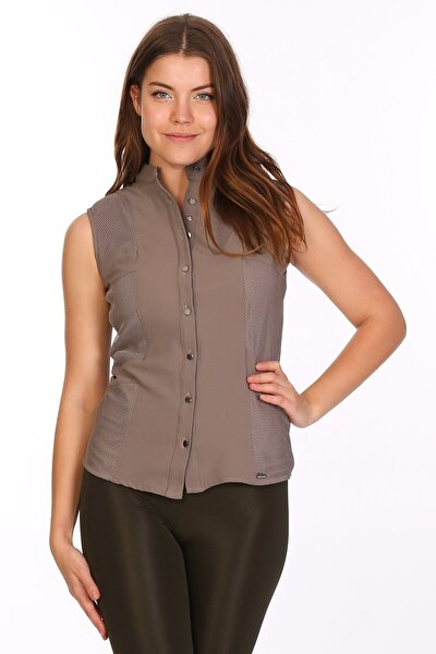 Kadın Vizon Sıfır Kol Kadın Gömlek