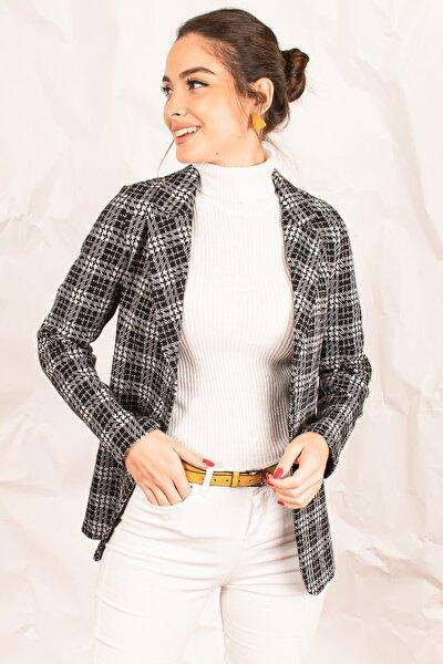 Kadın Gri Kaşe Tek Düğmeli Ekose Ceket ARM-19K001131