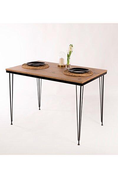 Rustik Çam Tel Ayaklı Mutfak Masası