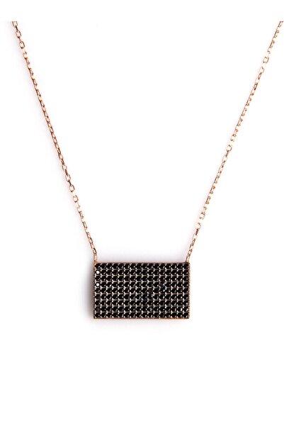 Siyah Zirkon Süslemeli Tasarım 925 Ayar Gümüş Kolye KLY-0066-35