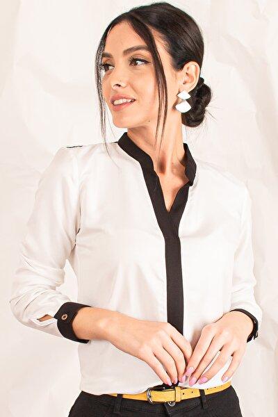 Kadın Ekru Önü Şeritli Gömlek ARM-18K001255