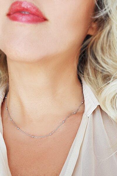 Kadın 925 Ayar Gümüş Toplu Zincir t062