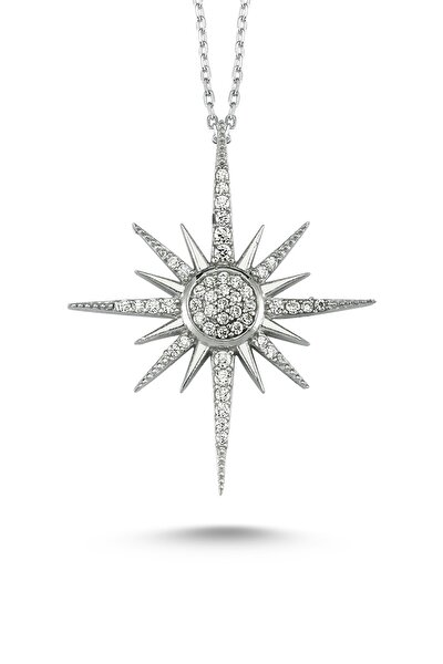 Kadın Taşlı Kutup Yıldızı Gümüş Kolye ik0059