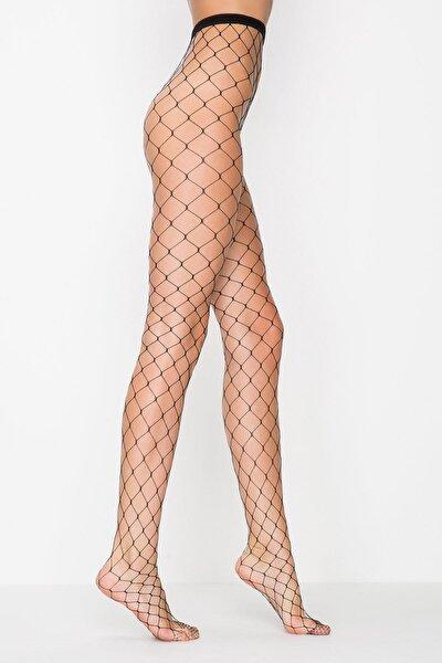 Kadın Siyah Büyük File Külotlu Çorap