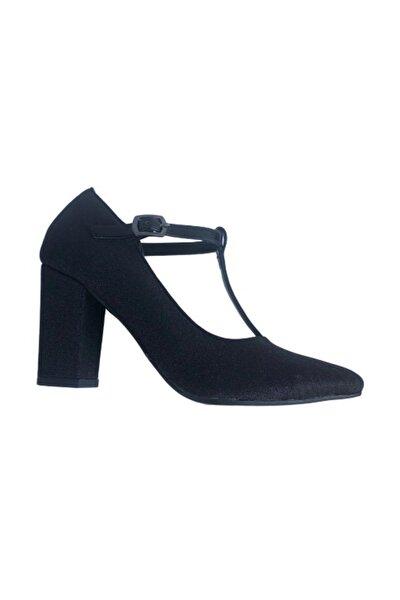 410101-08 Siyah Kare Topuk Simli Bayan Ayakkabı