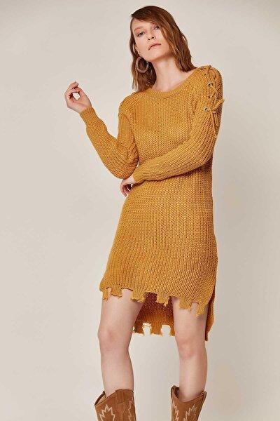 Kadın Kuşgözü Detaylı Eteği Yırtık Triko Elbise 3370