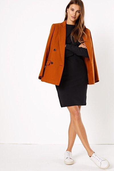 Kadın Siyah Uzun Kollu Shift Elbise T42007354