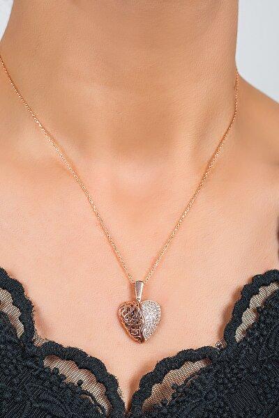 Zirkon Taş Kalp Kolye Rose Gümüş BZNK-00236