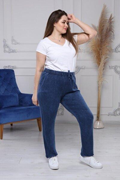 Kadın Mavi Pamuklu Terletmez Özel Dokuma Tensel Beli Lastikli Pantolon