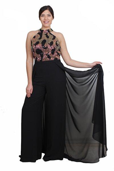 Kadın Gold Abiye Elbise GZN19219