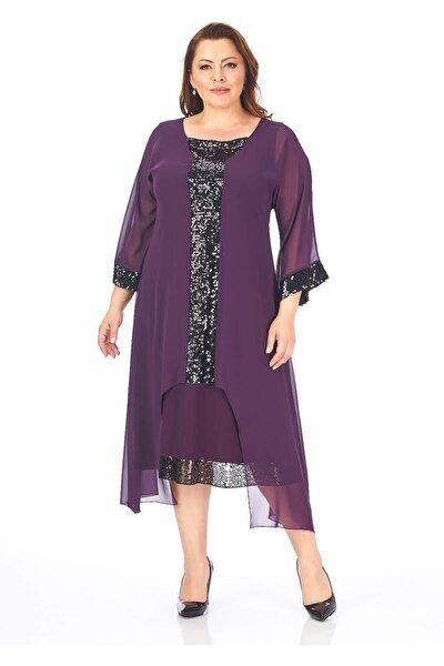Pul Payetli Büyük Beden Şifon Elbise