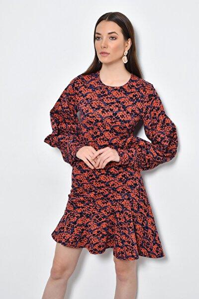 Kadın Kırmızı Çiçekli Eteği Volanlı Uzun Kollu Flok Baskılı Elbise HN2310