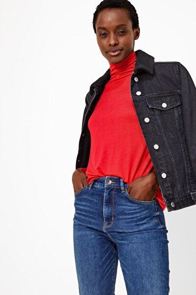 Kadın Kırmızı Balıkçı Yaka Uzun Kollu T-Shirt T41008184