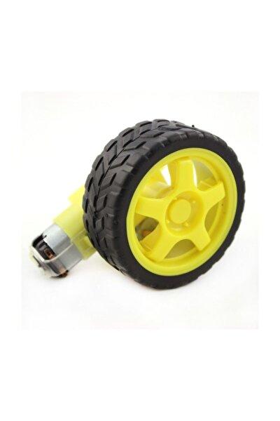 65 mm Plastik Tekerlek + Mini Dc Motor