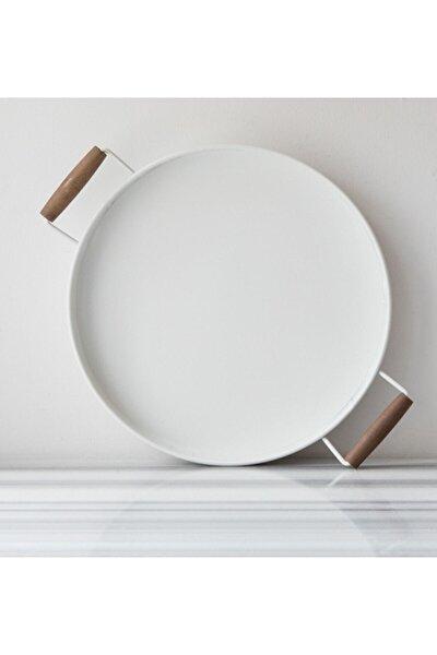 Galvaniz Beyaz Ahşap Kulplu Yuvarlak Tepsi 37 cm