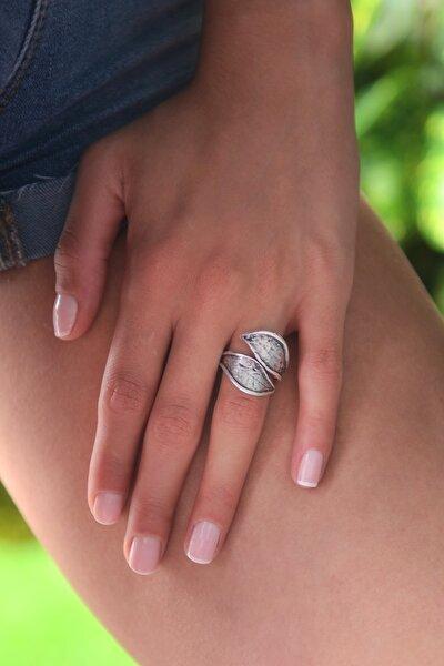 Kadın Antik Gümüş Kaplama Yaprak Yüzük STY0289