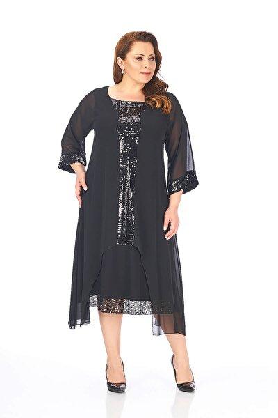 Kadın Siyah Büyük Beden Elbise 61506011440211