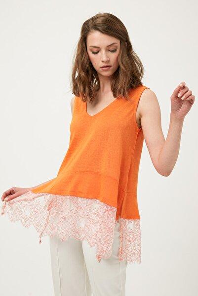 Kadın Turuncu Eteği Dantel Mixli Tshirt IS1190070350127