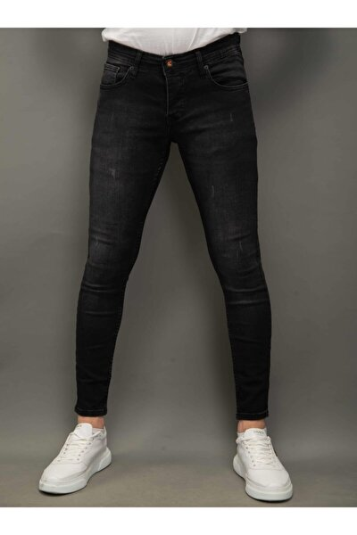 Erkek Siyah Kot Pantolon Skinnyfit Taşlamalı 1188-1