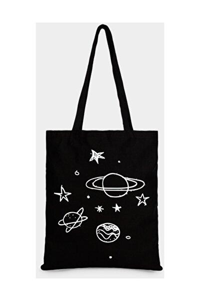 Gezegen Ve Yıldızlar Baskılı Ham Bez Çanta