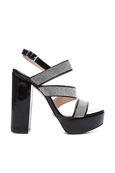Hakiki Deri Siyah Kadın Topuklu Ayakkabı 539 3097 BN AYK