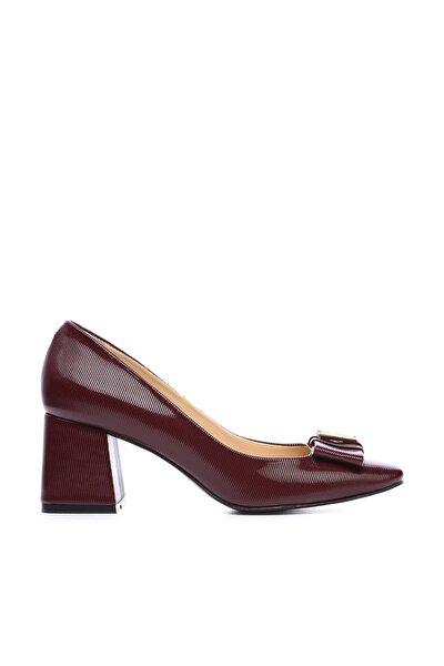 Bordo Kadın Vegan Klasik Topuklu Ayakkabı 22 619 BN AYK