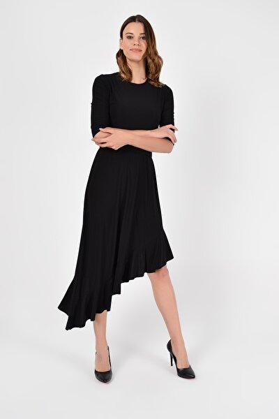 Kadın Siyah Asimetrik Kesim Elbise 19L6750