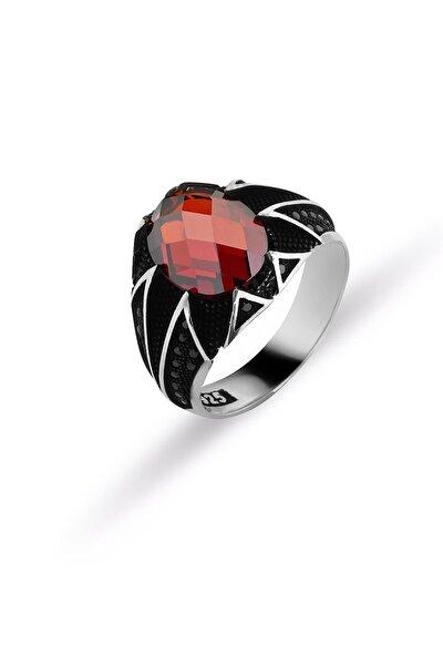 Kırmızı Zirkon Taşlı Erkek Yüzüğü Erkek Oksit Kırmızı Zirkon