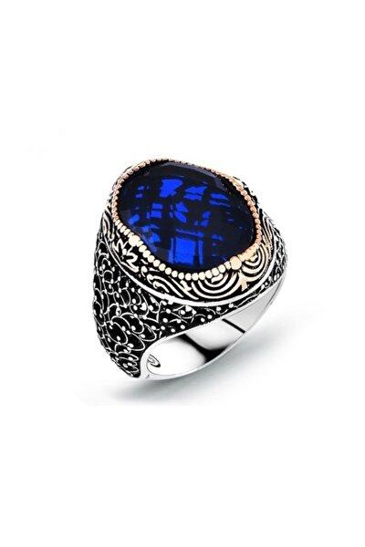 Gümüş Mavi Zirkon Taşlı Oval Gümüş Yüzük 925 Ayar