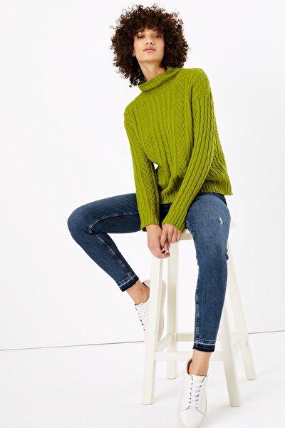 Kadın Lacivert Orta Belli Skinny Jean T57009874