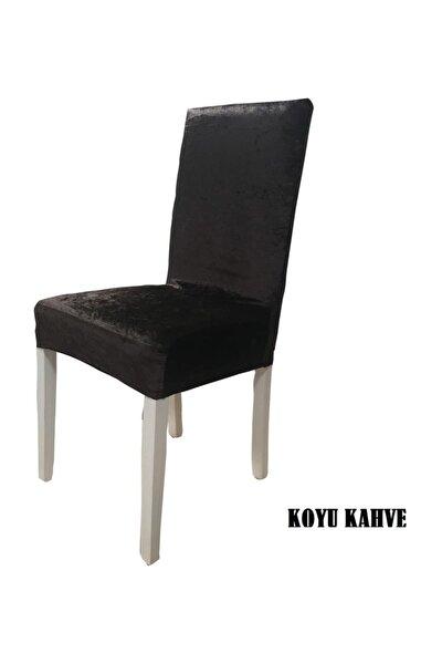 Ipek Kadife Likralı Sandalye Kılıfı 6'lı Paket Koyu Kahve