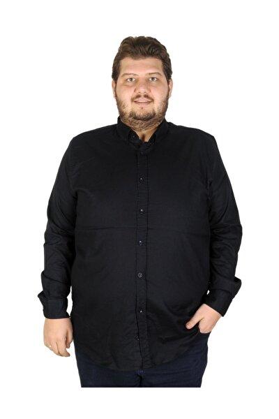 Büyük Beden Erkek Gömlek Uzun Kol Cepsiz 19305 Lacivert