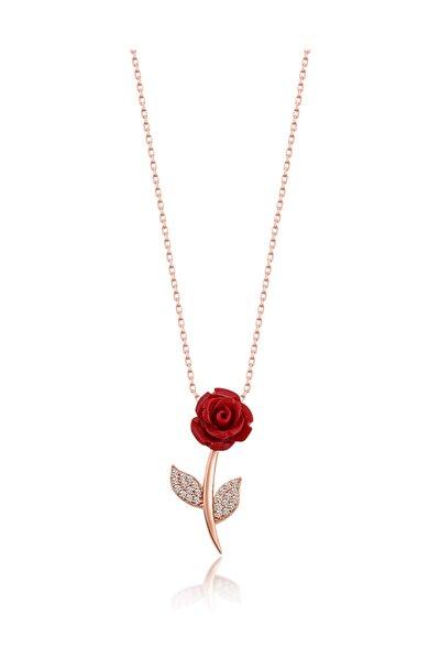 Kadın 925 Ayar Rose Gümüş Kırmızı Gül Kolye