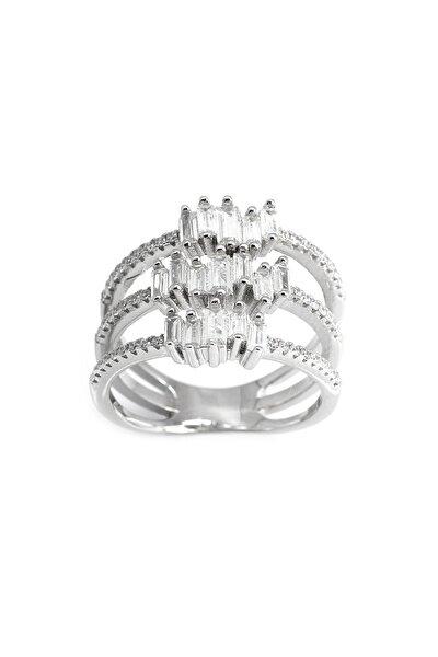 925 Ayar Gümüş 3 Sıra Zirkon Taş İşlemeli Bayan Yüzük 102001367