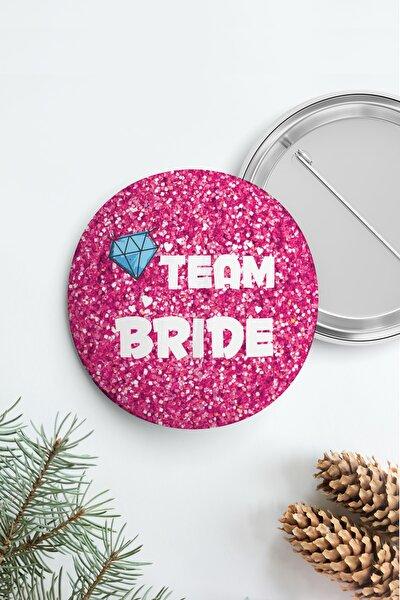 Bekarlığa Veda Team Bride Rozet, Pembe Parıltılı