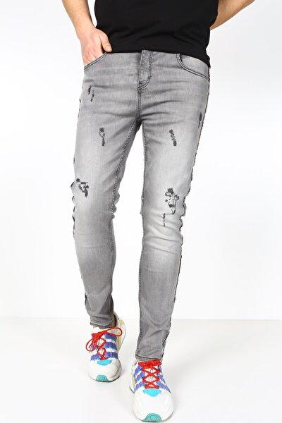 Erkek Gri Yıpratmalı Kot Pantolon