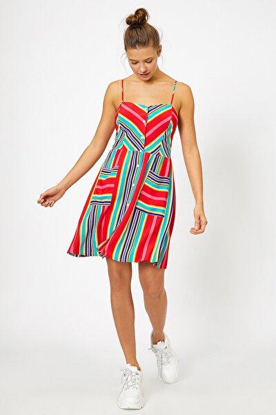 Kadın Pembe Desenli Elbise 0YAL88091OW