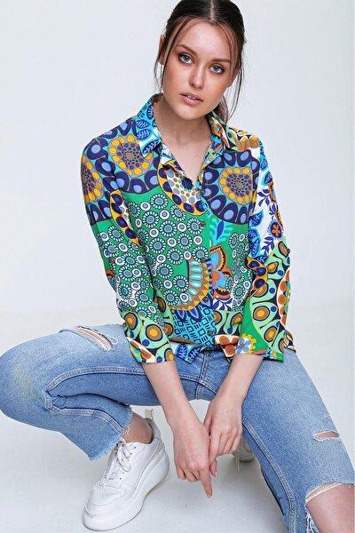 Kadın Yeşil Desenli Dokuma Viscon Gömlek Kh00001