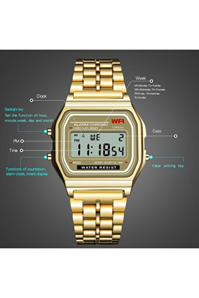 Retro Klasik Altın Renk Dijital Spor Unisex Kol Saati A159w