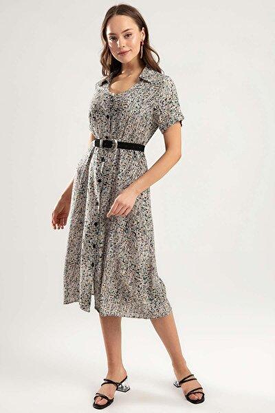 Kadın Desenli Midi Gömlek Elbise Y20s110-1951