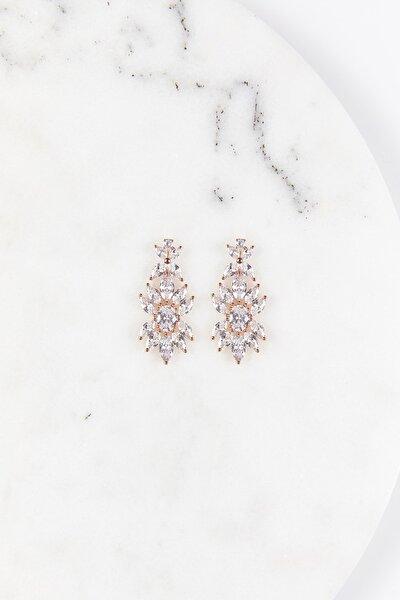 Kadın Rose Gold Kristalli Abiye Küpe EB1807471E