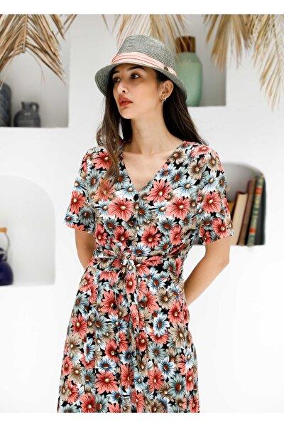 Kuşaklı Çiçekli Elbise