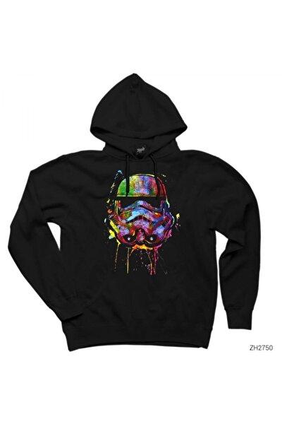 Star Wars Helmet Siyah Kapşonlu Sweatshirt / Hoodie