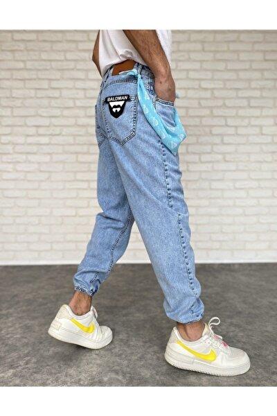 Erkek Açık Mavi Paçası Lastikli Likrasız Kumaş Jean 0532