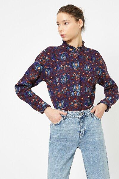 Kadın Bordo Dügme Detayli Bluz 0YAL68411IW