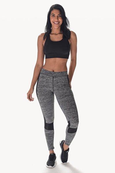 Kadın Kırçıllı Gri Fitness Tayt