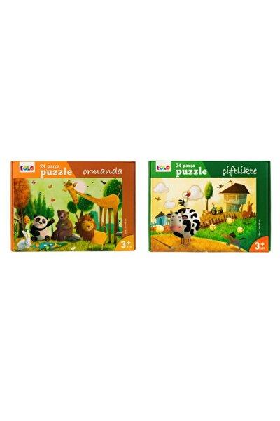 Yer Puzzle 24 Parça 2 Li Set - Ormanda Ve Çiftlikte
